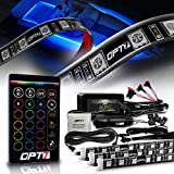 OPT7 Aura LED, 24 inches RGB Soundsync Interior Strip, 16+ Colors Flexible Waterproof 12v Marine Light with Wireless Remote Control for Bass Boat, Pontoon Sailboat