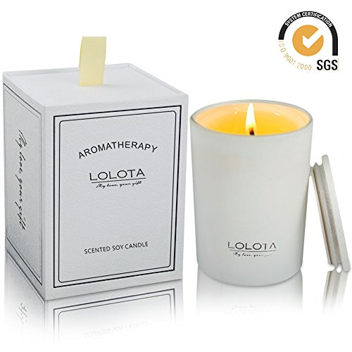 (LALATA Lemon Grapefruit Basil Scented Candle Gift Soy Wax Aromatherapy Set of Fragrance Soy Candle 9.5 OZ-270g 55 Hours Burn Fine Home Fragrance Gifts Candle for Stress Relief and Relaxation)
