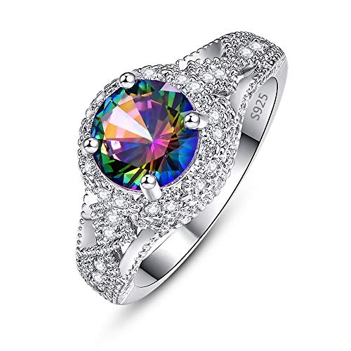 Mavonne 925 Sterling Silver Created Rainbow Topaz Cubic Zirconia Statement Ring for Men Women Solitaire Size 6-9
