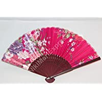 Oriental Lady Dark Brown Bamboo & Silk Hand Folding Fan, Wall Art, Decoration (Hot Pink)