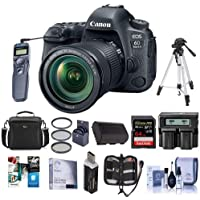 Canon EOS 6D Mark II DSLR with EF 24-105mm f/3.5-5.6 IS STM Lens - Bundle With 64GB SDHC U3 Card, Camera Case, Tripod, Spare Battery, Dual Charger, 77mm Filter Kit, Remote Shutter And More