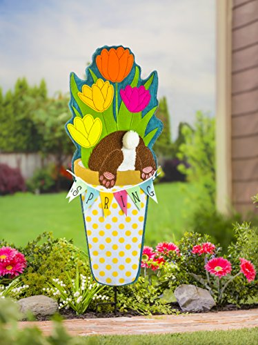 Evergreen Flag Spring Tulips 36-inch Outdoor Safe Burlap Statement Stake Décorative Sign (Statement Banner)