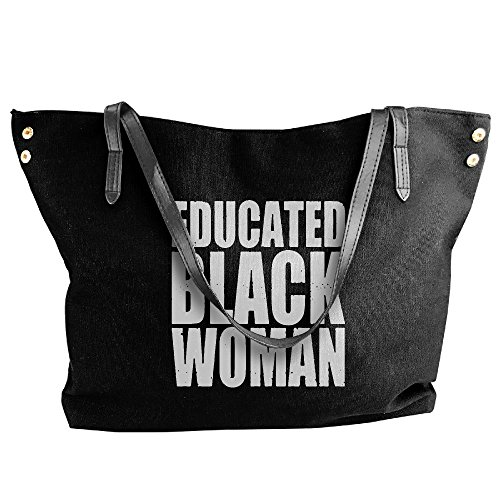 Women's Handbags Black Large Woman Canvas Tote Shoulder Black Educated Handbag rqr7xFw8
