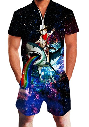Men's Rompers Male Zipper Jumpsuit Shorts Galaxy Cat Riding Shark Printed One Piece Slim Fit Outfits Bro Short Sleeve -
