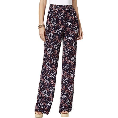 Michael Michael Kors Womens Floral Print High Rise Wide Leg Pants Navy 16