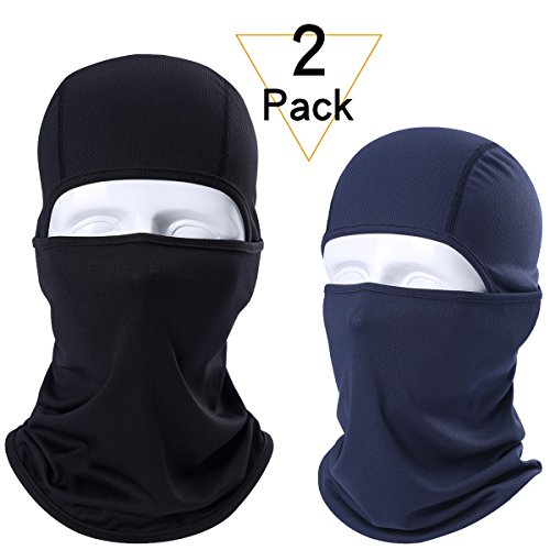 JIUSY 2 Pack – Breathable Windproof Balaclava Face Mask Protection Helmet Liner for Motorcycle Cycling Skiing Snowboard ATVing Hunting Hiking Fishing Skydiving Outdoor Sports Black and Navy Blue