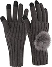 Novawo Womens Stretchy Touchscreen Gloves - Knit Fingerless Wrist Warmer Set