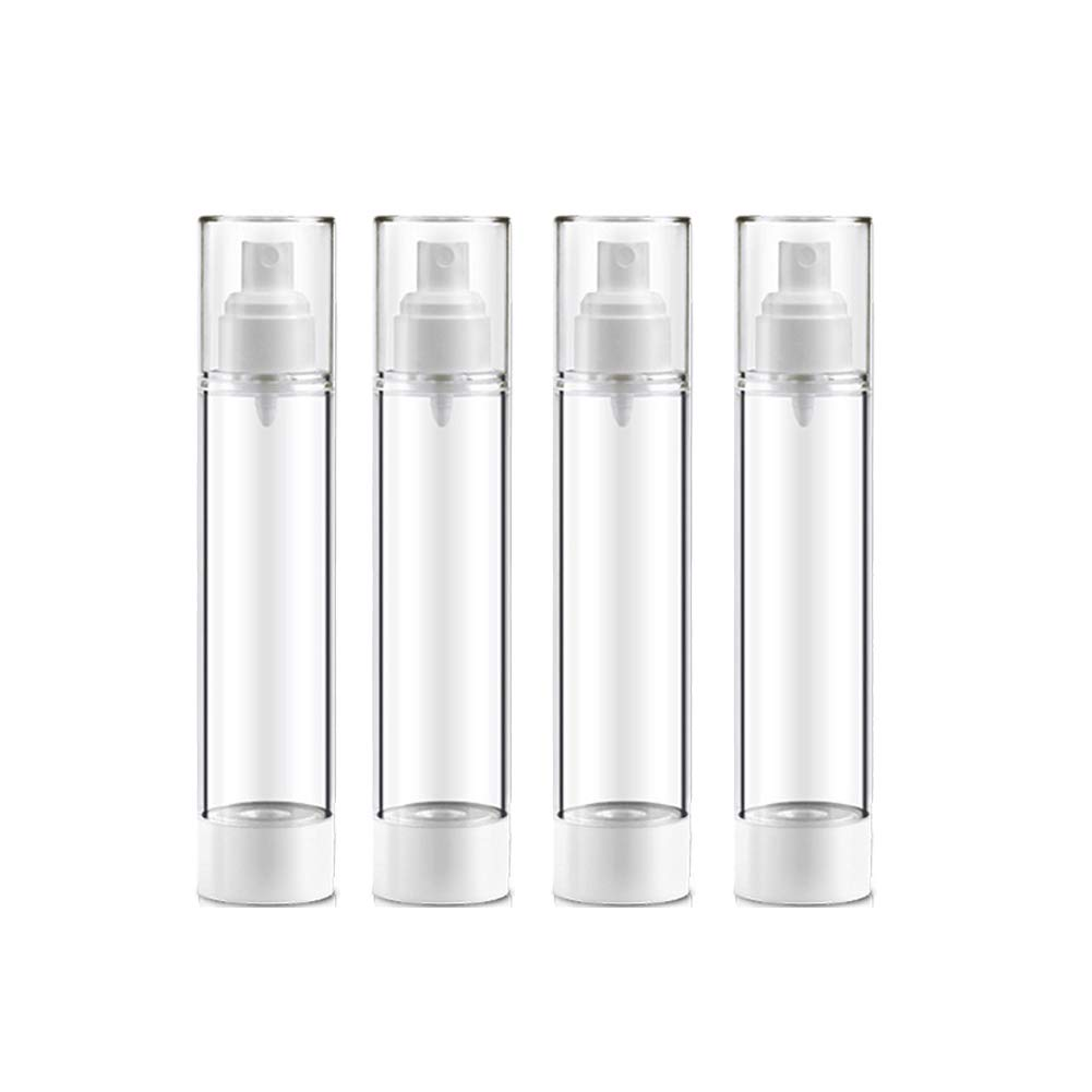 AIYER Portable Vacuum Spray Bottles(4 Pack) Clear Empty Refillable Great for Essential Oils,Aromatherapy,Plastic Fine Mist Perfume Sprayer Cosmetic Travel Small Bottles 50 ml,1.7 oz