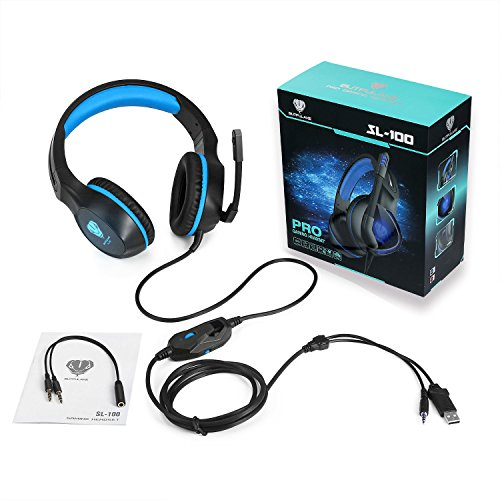 Fenvella Gaming Headset With Mic For PC/PS4/Xbox One Controller/Nintendo Switch 3.5mm Wired Stereo Noise Isolating Over Ear Headphones With LED Light Volume Control For Ipad/Laptop/Mobile Devices Blue by Fenvella (Image #5)