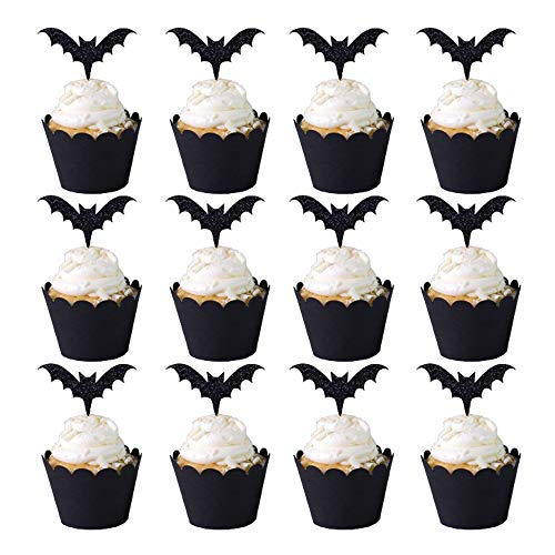 12 Sets Cupcake Kit Black Bat Cupcake Toppers and Black Grease Proof Baking Cups Halloween Decorations Party Supplies(12 pcs pick + 12 pcs cup)