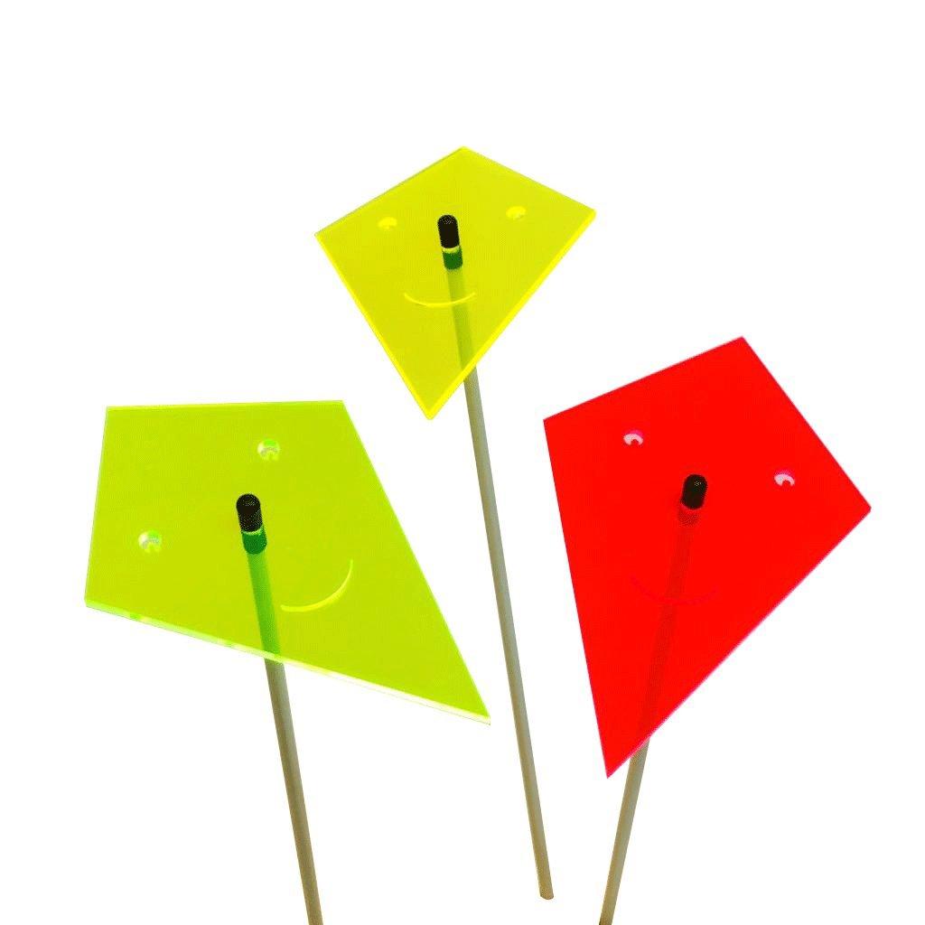 SunCatcher: SONNENFÄNGER 3er Set 'Lächelnder Drache'   fluoreszierende Gartendeko   15cm Ø mit 75cm Stab   5 Farben   Mehr Farbe für Ihren Garten - das ganze Jahr!   Gartenstecker Geschenk, Farbe:rot / gelb / grün Farbe:rot / gelb / grün DSD Supplies ltd.