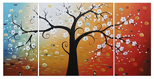 Ode-Rin Art Christmas Gift Hand Painted Oil Painting White Flowers Tree 3 Panels Wood Inside Framed Hanging Wall Decoration
