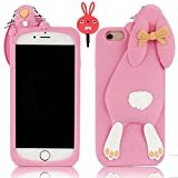 Apple iPhone 6 Plus / 6S Plus 5.5 inch Cartoon Case,Vandot Premium 3D Fashion Lovely Bow Ears Buck Teeth Animal Bunny High Quality Soft TPU Rubber Silicone Back Cover Skin Shell+ Anti Dust Plug-Pink