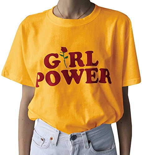 Enmeng Womens Fashion The Future is Female T Shirt Cute Girl Power Tops (S, G-Yellow)