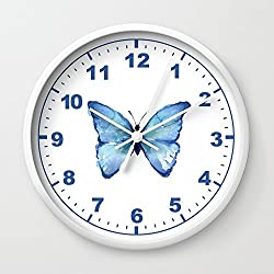 Society6 Blue Butterfly Watercolor Wall Clock White Frame, White Hands