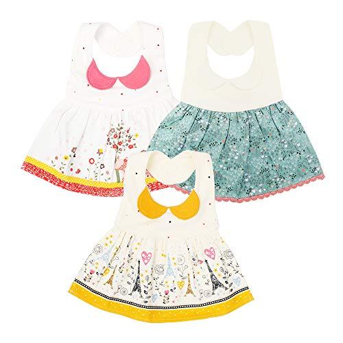 EGOFLEX 3-Pack Premium Baby Bibs Dress - Feeding, Teething Drool Burp Cloths Waterproof for Baby Girls and Toddlers with Adjustable Snap