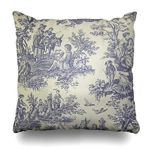 Ahawoso Throw Pillow Cover Square 17x17 Inches Blue Vintage Toile Decorative Pillow Case Home Decor ()