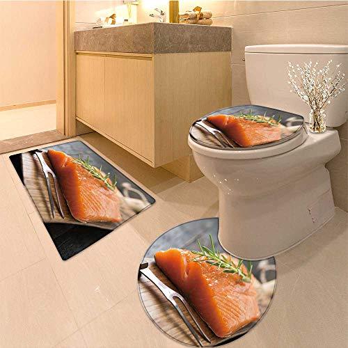 MikiDa U-Shaped Toilet Mat smoked salmon on wooden board Washable Non-Slip