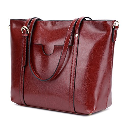 Leather Purse Tote Bag Handbag (CLELO Women's Tote Bag, Genuine Leather Purse Handbag Shoulder Bag (Wine))
