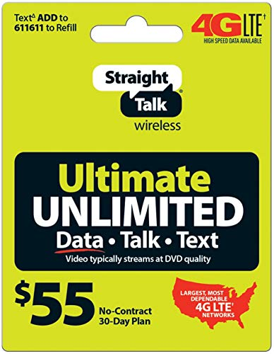 Straight Talk $55 Ultimate Unlimited Card (Mail Delivery) (Straight Talk Prepaid Card)