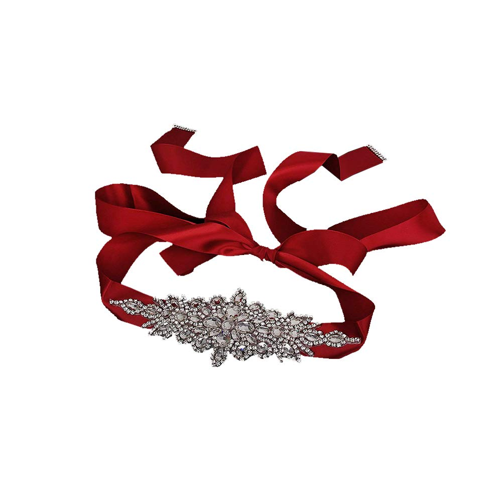 Aofocy Bridal Wedding Dress Belt Crystal Rhinestone Sparkle Ribbon Tie