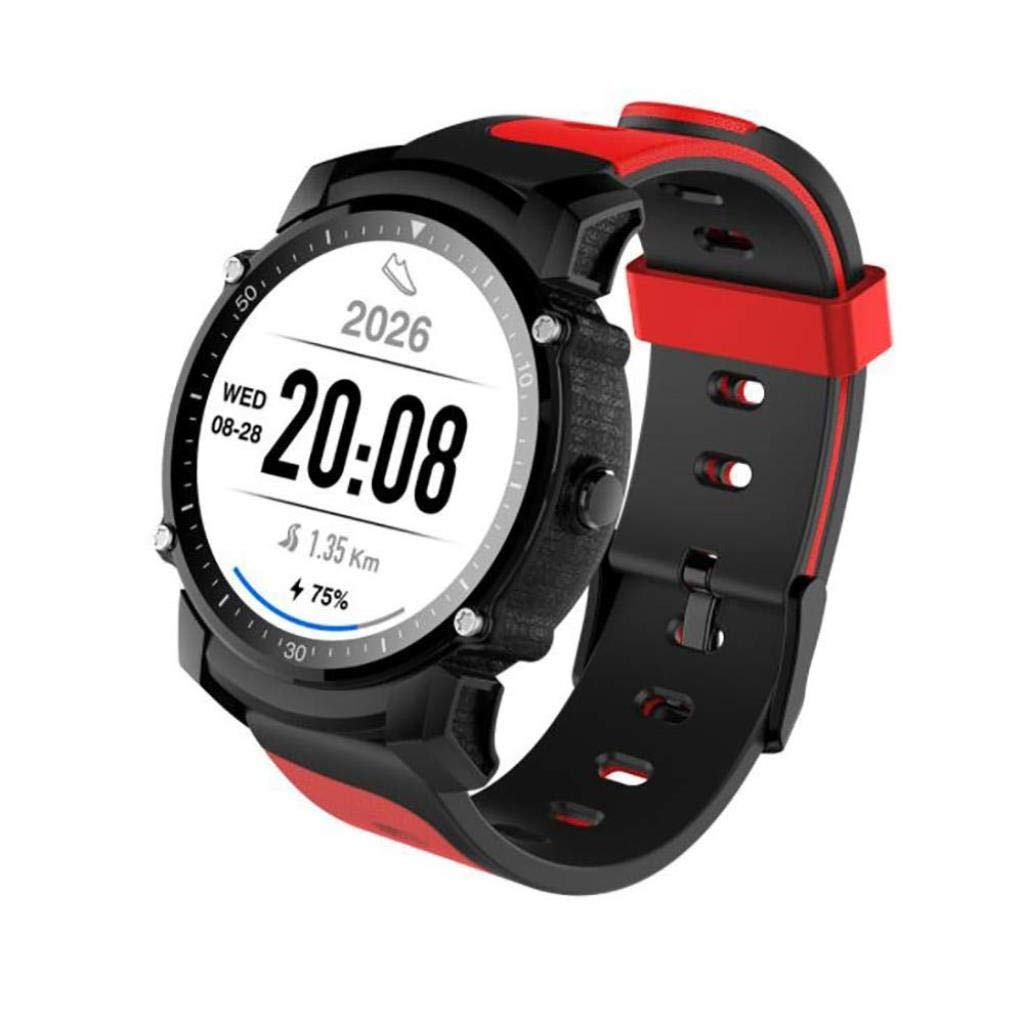 スマートブレスレットスマート腕時計防水スポーツ電話フルラウンドスクリーンスマートウェア屋外GPSランニングウォッチ手首モニター Black Red  B07QXFDNF2