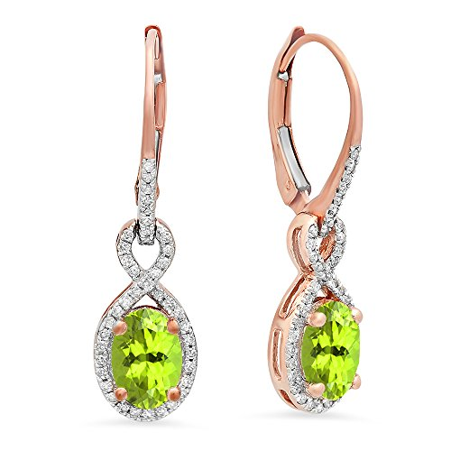 10K Rose Gold Oval Peridot & Round White Diamond Ladies Infinity Dangling Earrings