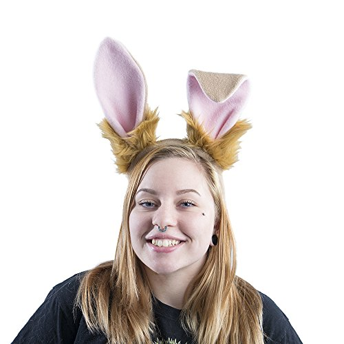 Pawstar Bunny Ear Headband Stand Up Poseable Rabbit Ears - Tan (Tan Rabbit)