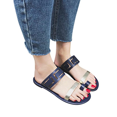 VEMOW Sandals for Women, Slippers Gladiator Wedge Tan Closed Toe Platform Sparkly High Low Heels Roman Flats Flip Flops Thongs, Summer Hollow Flat Sexy Casual Fashion Clip Toe Shoes Blue