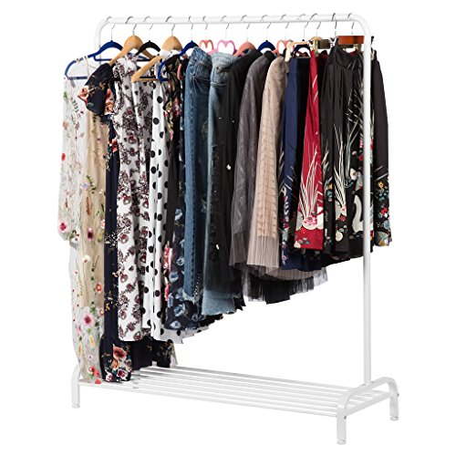 LANGRIA Heavy Duty Commercial Grade Clothing Garment Rack with Top Rod and Lower Storage Shelf for Boxes Shoes Boots 47.2 x 17.7 x 63 inches, White