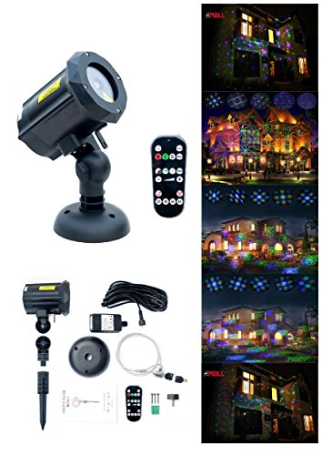 Motion Pattern Firefly 3 models in 1 Continuous 18 Patterns LEDMALL RGB Outdoor Laser Garden and Christmas Lights with RF remote control and Security kit by LedMAll®