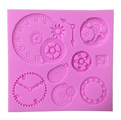 (Awesome Gears, Wheels and Clock Silicone Mold (Clock Works Orange, Steam Punk) - Custom Silicone Molds from Bakell)