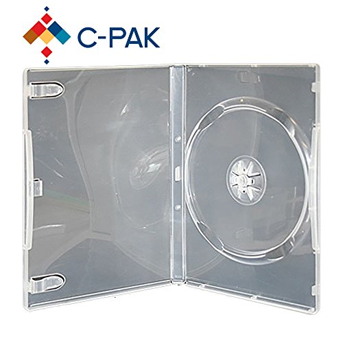Price comparison product image C-Pak Standard 14mm Single Disc DVD Cases and Outter Clear Sleeve Pack of 25pcs (Clear)