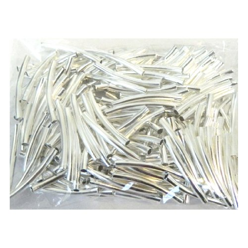 Silver Beads Metal Spacer - Rockin Beads Brand, 200 Curved Tube Beads 3x24mm Silver Plated Smooth Spacer Metal Bead 2mm Hole Pkg of 200