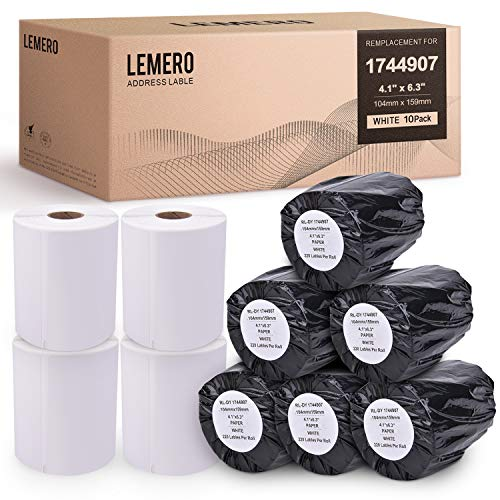 LEMERO 10 Rolls Compatible with DYMO 1744907 Extra-Large Shipping Labels - White Thermal Postage Labels 4 inch x 6 inch Strong Permanent Adhesive for DYMO LabelWriter 4XL (220 Labels/Roll) (Dymo Labelwriter 4xl 4 X 6 Label Printer)