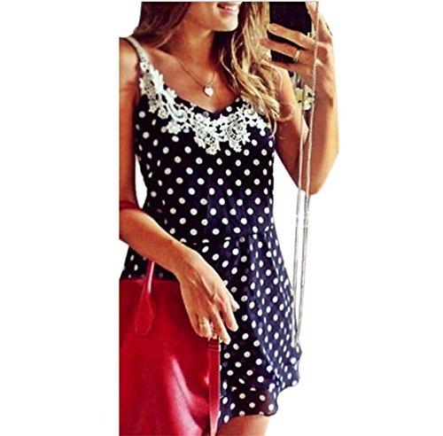 Umanak Fancy Women's Casual Sleeveless Sundress White Dot Lace Mini Dress (Quirky Fancy Dress Ideas)