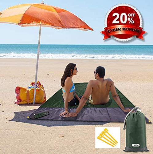 """Outdoor Beach Blanket - Sand Free Compact Pocket Blanket - Portable Waterproof Sand Proof Picnic Blanket Mat with 4 Stakes Build in a Bag Oversized 55 x 79""""inches for Travel, Quick Drying Nylon"""