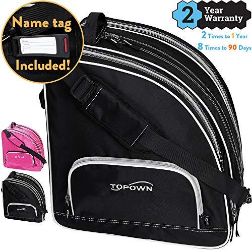 TOPOWN Premium Skate Bag, Ice & Inline Skates Multi-Function Skate Bag, Shoulder Carry Skate Equipment Bag for Boys and Girls, Black/Rose Red Roller Skate Bag for Size 3 – ()
