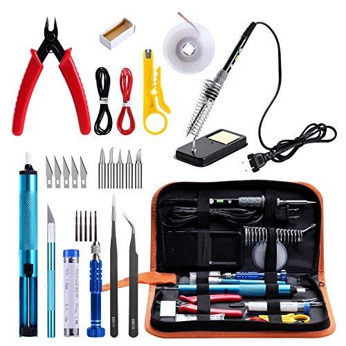 GEYOTAR Soldering Iron Kit,Electric Soldering Iron kit, 60W Adjustable Temperature Welding Tool, Desoldering Pump, 5pcs Soldering Tips, Desoldering Wick, Iron Stand, Solder Wire, Tweezers