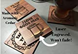 Coastal Crafted Beer Wooden Drink Coasters   Made in USA from Aromatic Cedar & Finished with Poly for easy cleaning   3.5 Inch