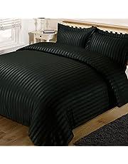 Dreamscene Satin Stripe dekbedovertrek met kussens Quilt beddenset, zwart, Double