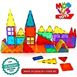 Magnetic Building Blocks, 60+6 Extra Magnetic Tiles, 3D Magnet Building Toys set, Educational Construction Magnetic Blocks for Kids, Strong Metallic Rivets, Varied Shapes, Translucent Rainbow Colors