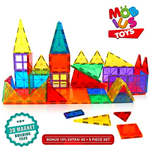 Amazon #LightningDeal 80% claimed: Magnetic Building Blocks. 60+6 Extra Pieces Set of 3D Magnet Building Tiles. Educational Construction Magnetic Toy for Kids. Strong Metallic Rivets. Varied Shapes in Translucent Rainbow Colours