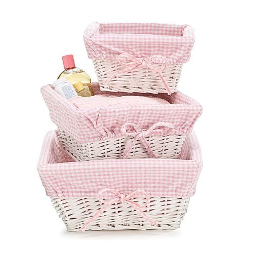 Set of 3 Baby Girl Nursery Storage Baskets - White Willow with Pink Cotton Gingham Fabric (With Blue White Wicker Baskets Lining)