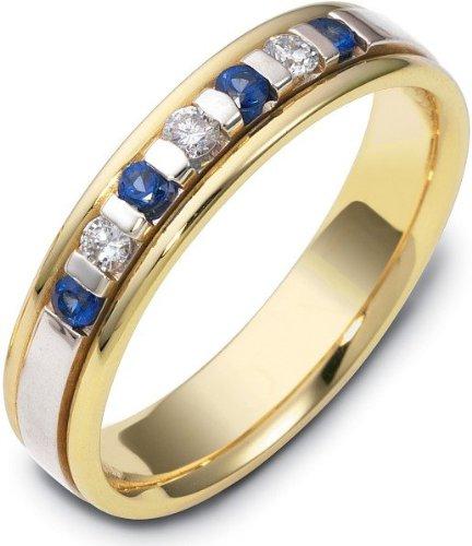 (14 Karat Two-Tone Gold Designer Diamond & Sapphire Band Ring - 11.75)