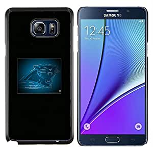 Qstar Arte & diseño plástico duro Fundas Cover Cubre Hard Case Cover para Samsung Galaxy Note 5 5th N9200 (Carolina Panther NFL)