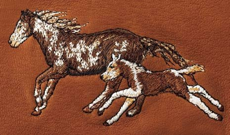 Kathys Show Tack Leather Checkbook Cover/Planner with horse Embroidery Morning Run Tan Leather