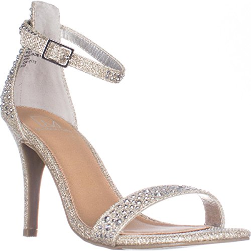 Material Girl MG35 Blaire Ankle Strap Dress Heel Sandals, Silver