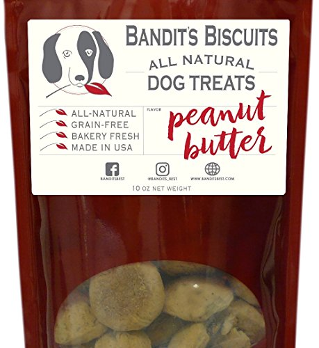 Bandit's Biscuits Natural Grain-Free Crunchy Dog Treats, 10 oz, Peanut Butter (Low Cal Dog Food)