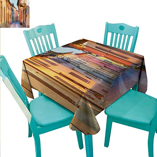 WilliamsDecor Italy Washable Table Cloth Narrow Paves Street Among Old Houses in Town Serralunga DAlba Piedmont Great for Buffet Table 54